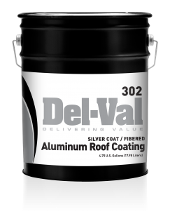 Image of Del-Val 302 Silver Coat Fibrated Aluminum Roof Coating - 5 Gallon Pail
