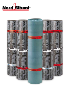 Image of Nord Bitumi products featuring NordPoly, NordFlex & NordShield Rolls