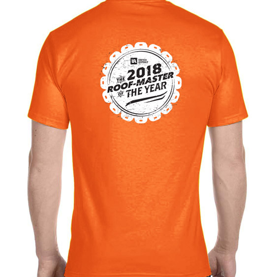 Reverse Side of the Roof-Master of the Year Shirt Featuring the 2018 Contest Logo