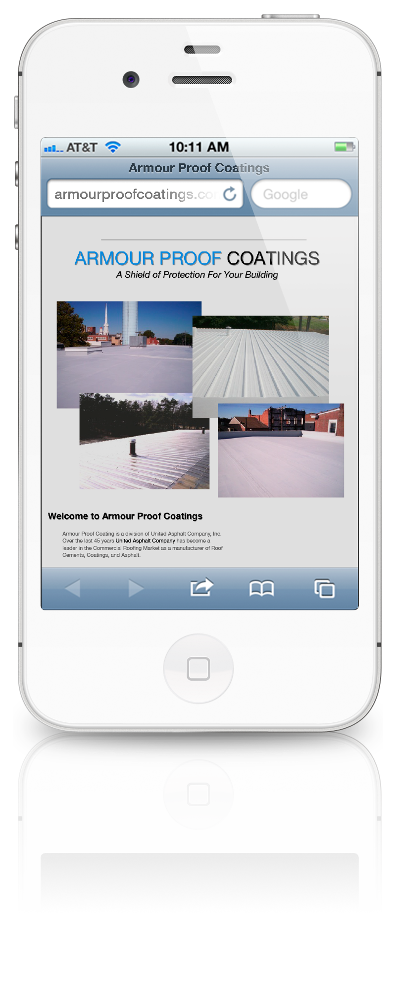 Armour Proof Coatings Initial Website Launch on an iPhone 4S