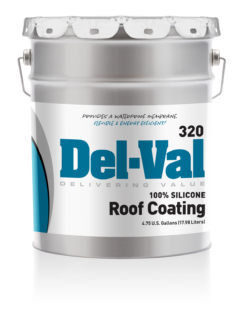 Del-Val 320 Silicone Roof Coating 5 Gallon Pail with White Lid